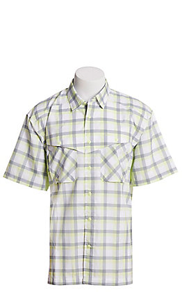 Under Armour Tide Chaser Men's Lime and Grey Plaid Short Sleeve Fishing Shirt
