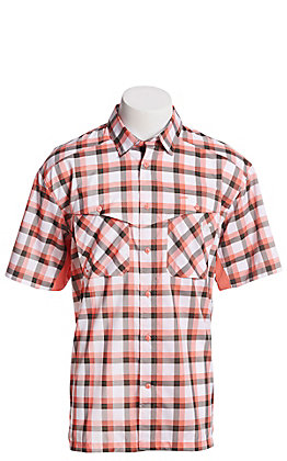 Under Armour Tide Chaser Men's Coral and Grey Plaid Short Sleeve Fishing Shirt