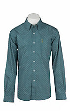 Cinch Men's Modern Fit Teal Print L/S Western Shirt