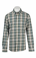 Cinch Men's Modern Fit Yellow and Blue Plaid L/S Western Shirt