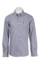 Cinch Men's Modern Fit Grey and Purple Square Print L/S Western Shirt