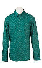 Cinch Men's Modern Fit Green Square Print L/S Western Shirt
