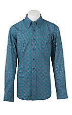 Cinch Men's Modern Fit Navy and Teal Circle Print L/S Western Shirt