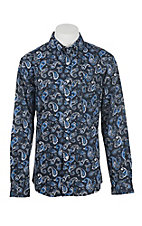 Cinch Men's Black and Blue Paisley Print Long Sleeve Western Shirt