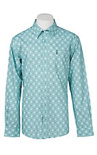 Cinch Men's Light Blue Modern Fit Diamond Geometric Long Sleeve Western Shirt