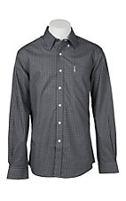 Cinch Men's Grey Modern Fit Square Geometric Long Sleeve Western Shirt