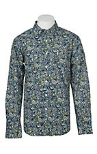 Cinch Men's Green Modern Fit Paisley Long Sleeve Western Shirt