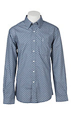 Cinch Men's Blue & White Geometric Print Modern Fit Western Shirt