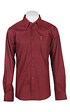 Cinch Men's Modern Fit Red Geo Print L/S Western Shirt