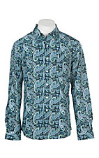Cinch Men's Modern Fit Blue and Mint Paisley L/S Western Shirt