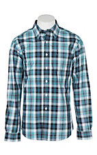 Cinch Men's Modern Fit Blue and Mint Plaid L/S Western Shirt