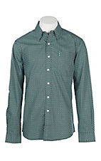 Cinch Men's Modern Fit Green and Black Geo Print L/S Western Shirt