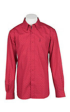 Cinch Men's Red and Black Modern Fit Diamond Print L/S Western Shirt