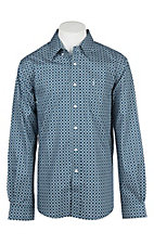 Cinch Men's Blue and White Modern Fit Diamond Print L/S Western Shirt