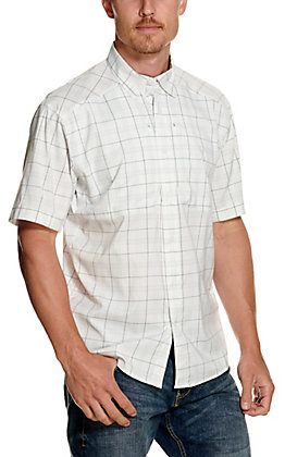 Under Armour Men's Tide Chaser 2.0 White and Grey Plaid Short Sleeve Fishing Shirt