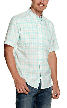 Under Armour Men's Tide Chaser 2.0 White and Turquoise Plaid Short Sleeve Fishing Shirt