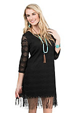 Jody Women's Black Lace with Fringe 3/4 Sleeve Dress