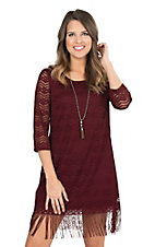 Jody Women's Burgundy Lace with Fringe 3/4 Sleeve Dress