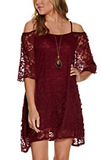 Jody Women's Burgundy Lace Cold Shoulder Dress