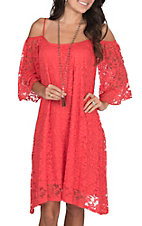 Jody Women Coral Lace Cold Shoulder Dress