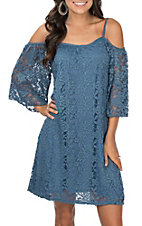 Jody Women's Denim Blue Lace Cold Shoulder Dress