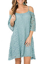 Jody Women's Dusty Mint Lace Cold Shoulder Dress