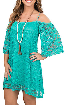Jody California Women's Jade Lace Cold Shoulder Short Sleeve Dress
