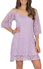 Jody Women's Lilac Cold Shoulder Short Sleeve Lace Dress