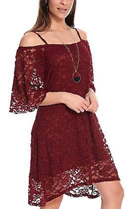 Jody Women's Maroon Cold Shoulder 3/4 Sleeves Lace Dress