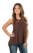 Jody California Women's Brown with Crochet Yoke Faux Suede Sleeveless Fashion Top