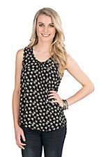 Jody Women's Black and White Floral Print Sleeveless Fashion Tank
