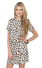 Renee C. Women's Ivory and Brown Leopard Print Short Sleeve Shift Dress