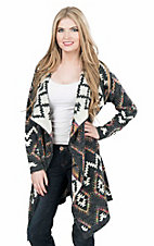 Montana Clothing Company Women's Black and White with Neon Accents Diamond Print Long Sleeve Cardigan