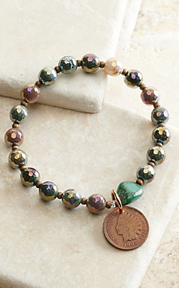 J.Forks Designs Iridescent Beads with Turquoise Stone and Indian Penny Stretch Bracelet