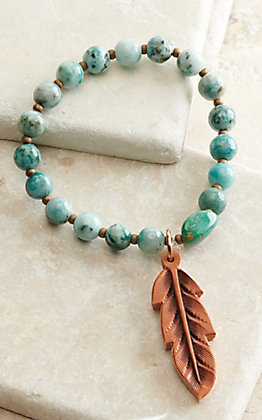 J.Forks Designs Green Earth Jasper Beads with Brown Leather Feather Stretch Bracelet