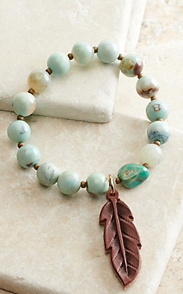 J.Forks Designs Turquoise Jasper Beads with Chocolate Brown Leather Feather Stretch Bracelet