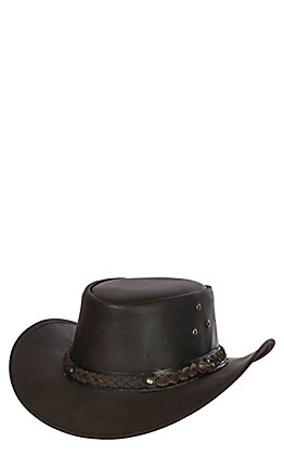 Outback Trading Company Chocolate Wagga-Wagga Leather Aussie Hat