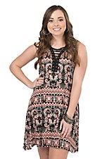 Jody Women's Mauve and Black Paisley Print Sleeveless Dress