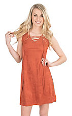 Jody Women's Rust Faux Suede with Lace Up Front Sleeveles Dress