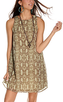 Jody Women's Olive with Brown Snake Print Sleeveless Dress