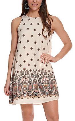 Jody Women's Sand with Border Print Sleeveless Dress