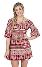 Jody Women's Rose Paisley Print 1/2 Bell Sleeve Dress