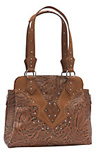 Wrangler Women's Aubree Caramel Tooled Conceal & Carry Tote