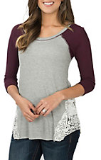 Jody Women's Grey and Burgundy Thermal w/ Lace Casual Knit Shirt