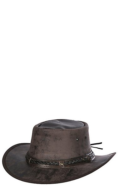 0e989acf6ce94 Outback Trading Company Iron Bark Chocolate Leather Aussie Hat