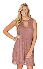 Jody Women's Mauve Lace Tank Dress