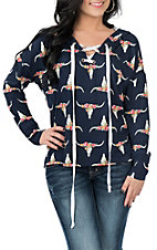 Jody Women's Navy Floral Skull Print Hooded Fashion Shirt