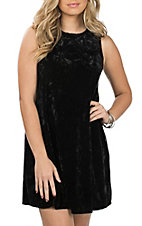 Jody Women's Black Crushed Velvet Dress