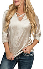 Jody Women's Champagne Velvet Fashion Shirt