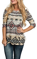 Jody Women's Beige & Grey Aztec 3/4 Sleeve Fashion Shirt
